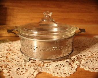 1920's Pyrex Etched Glass covered casserole WITH silver metal stand.