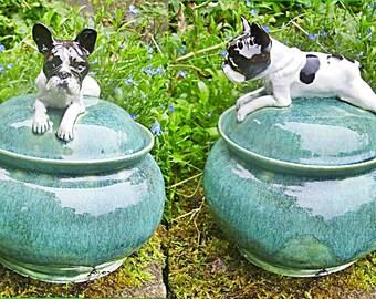 Sugar box with your own dog/Sugar box with dog by pic/Hand made ceramic sugar box with dog by pic/Sugar box with French bulldog
