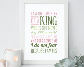 Daughter of a King - Christian Wall Quote - Religious Art and Typography