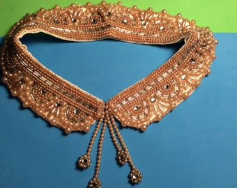Antique Handmade Pearl and Rhinestone Crystal Collar Bib collar, Top Hit Fashion Baar and Beards Inc. Accessory Party ,Classic Black dress