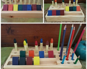 Large wooden crayon holder Waldorf