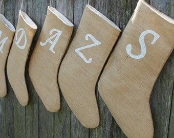 Christmas Stockings. Set of 5. Save 10%. Burlap Stocking with Monogram. Hessian Santa Stocking. Customised Stocking. Rustic Christmas Decor.