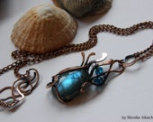 Element Of Water- wire wrapped necklace, labradorite, handmade, copper