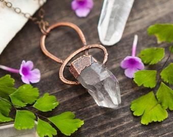 raw quartz crystal point necklace