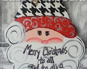 Santa Roll Tide Alabama Houndstooth Christmas Holiday Wood Door Hanger Door Sign