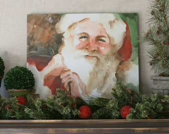 Christmas decoration christmas decor for her Santa decoration for christmas large Santa painting Santa wall hanging grandparent gift CANVAS