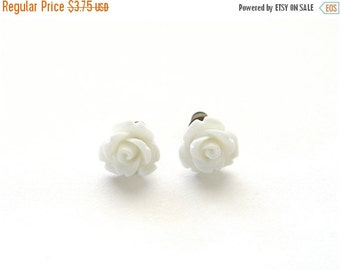 20% OFF SALE Tiny Pure White Rose Earrings, White Wedding Earrings, Stud Earrings, Post Earrings Under 5