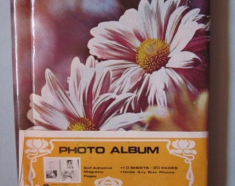 Vintage 70s/80s Floral Photo Album Self Adhesive Magnetic Pages 10 Sheets 20 Pages