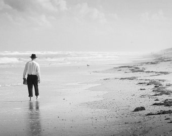 Beach Print - Man on the Shore Black and White Photograph