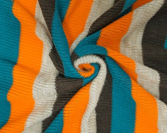 Teal Brown and Orange Stripe Sweater Knit Fabric by the yard style 6664