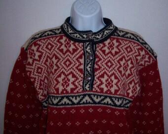 Vintage L.L. Bean Red Black White Wool Nordic Snowflake Norweigan Ski Sweater XS Extra Small Wool Fair Isle