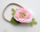 Single Felt Rose Headband or Alligator Clip - Pink Felt Flower Headband - Baby, Newborn Photo Prop