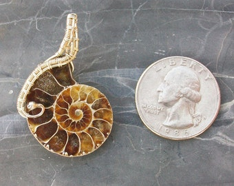 Sterling Silver Wire Wrapped Ammonite Pendant