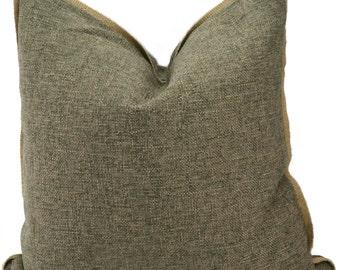 Throw Pillow Cover, Gray Pillow Cover with Jute Trim, Neutral Woven Gray Decorative Pillow Cover, 20x20, 18x18, Lumbar Pillow