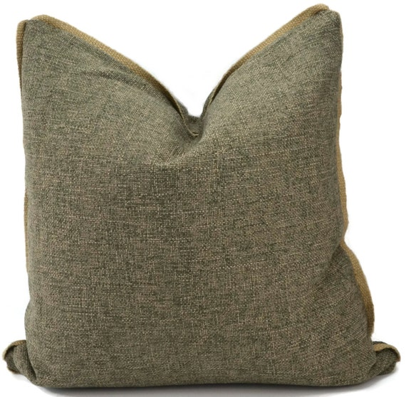 Throw Pillow Cover Gray Pillow Cover with Jute Trim Neutral