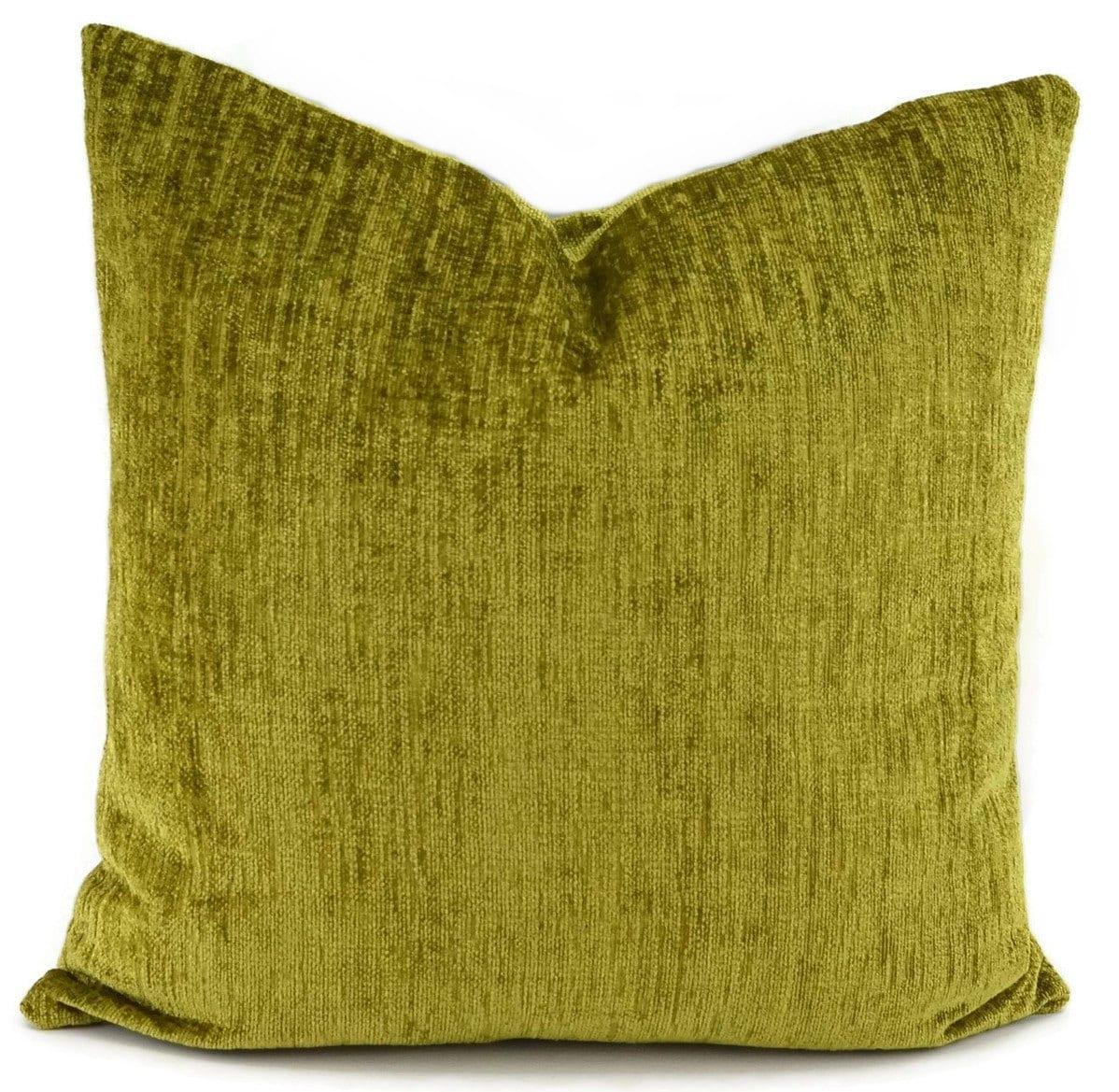Green Chenille Throw Pillow Cover Lime Green Chenille Lumbar