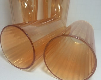Peach Lustreware 4 Glasses Vintage Housewares