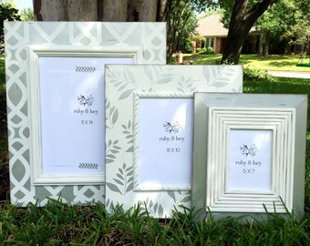 custom painted metallic silver distressed wood picture frame set | silver & white | bridal shower gift | wedding shower decor | anniversary
