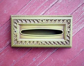 Vintage 60's/70's Green Tissue Holder Box