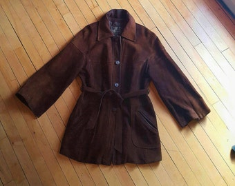 REDUCED FROM 40 dollars -- Womens Sz 16 (Med) M Brown Suede Long Jacket/Coat with Flared Sleeves