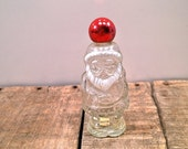 ON SALE Vintage Glass Avon Santa Claus Perfume Bottle
