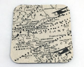 Maps and Airplanes Drink Coaster Set of 4 / Home Decor / House Warming Gift Idea / Accessories / Furniture Protector / Planes / Aviation