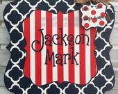Personalized Quatrefoil and Stripes Baby Announcement Sign For Hospital Door