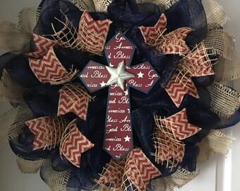 SALE..WAS 79.00/NOW 69.00..Rustic God Bless America Cross Patriotic Deco Mesh Wreath