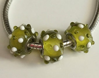 Green European Lampwork Glass Bead with raised green and white accents..add-a-bead..large hole..for bracelet or necklace..gift