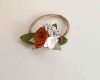 Pumpkin & Grey || felt flower headband || baby headband || one size