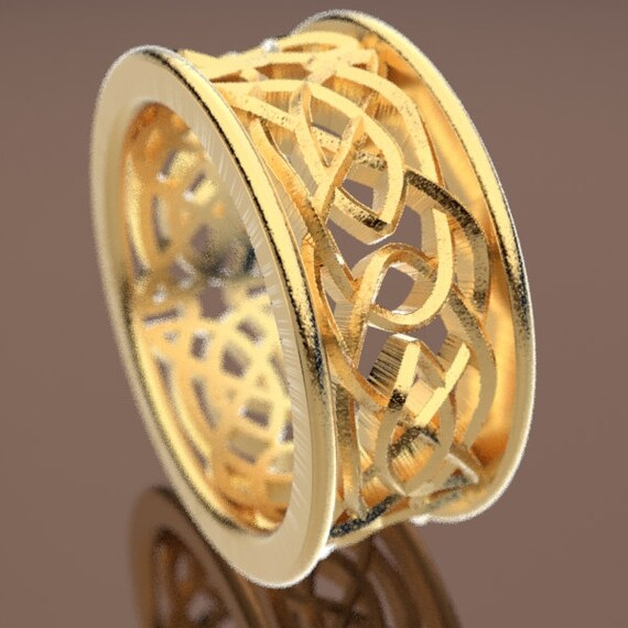 Celtic Wedding Ring With Intricate Swirl Cut-Through Knotwork Design Made in 10K 14K 18K Gold, Palladium, Platinum, Made in Your Size Cr-111