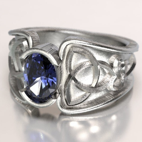 Celtic Tanzanite Ring With Trinity Knot Band Ring Design in Sterling Silver, Made in Your Size CR-17d