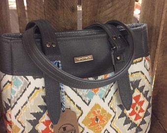 SALE Southwestern Purse, Southwest Handbag, SW Handbag, Aztec Handbag, Aztec Purse Swoon Evelyn with Grey Vinyl Trim - Ready to Ship