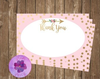 Pink & Gold Thank You Note