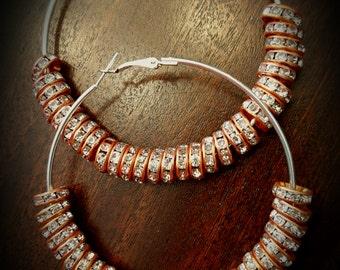 Orange Crystal Beaded Hoop Earrings 3.15 inches (80mm)