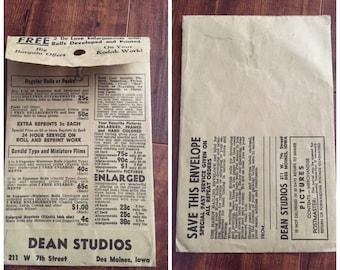 "1930's Kodak ""Dean Studios"" Des Moines Iowa envelope - vintage advertising- vintage news"