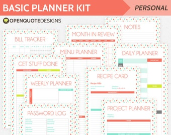 Printable Planner Inserts, Filofax Personal Planner Pages, Undated Calender, Planner Kit, Kitchen Planner, Daily Planner, Filofax Inserts
