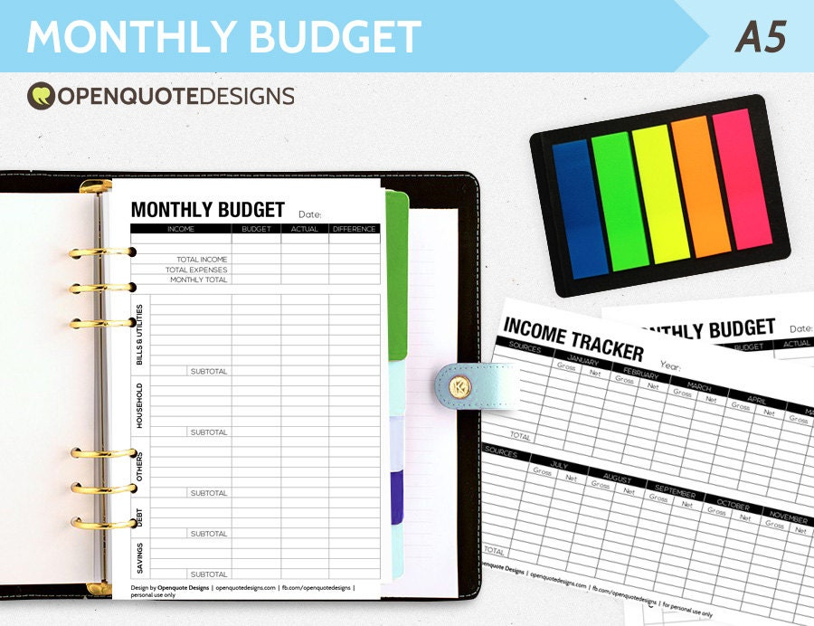 Printable Filofax Budget Planner Monthly Filofax Finance A