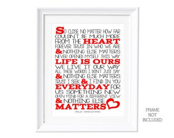 Song Lyrics Metallica Nothing Else Matters  Poster Print Lyric Typography Print for Self Framing