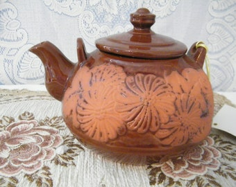 Rockingham Clay Teapot Made in Japan has Original Tag Vintage,  Never used, from Impco,