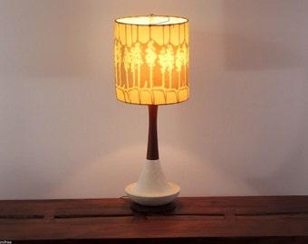 Vintage Danish Modern Teak Ceramic Base Table Lamp