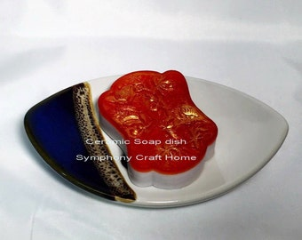Ceramic soap dish, soap dish, home decor, bath and beauty, gift, Red, bath room, guests room, soap bar, Soap