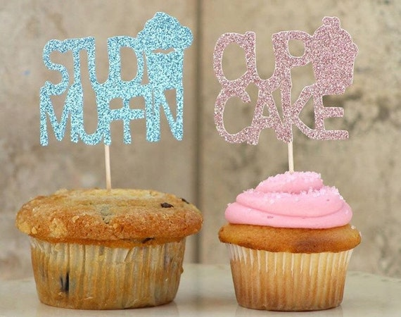 Gender Reveal Glitter Cake Toppers Stud Muffin By Glambanners