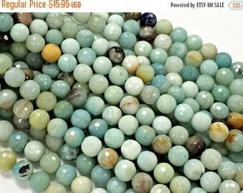 12mm Amazonite faceted Gemstone Beads Round Beads , Full Strand , Ocean Blue Gemstone Beads - 32beads SAMZ101