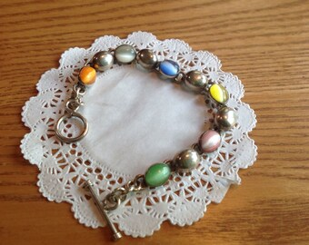 Vintage Mexican  Sterling Catseye Beaded Bracelet