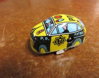 Vintage Tin Litho Small Police Patrol P.D. LTI Car