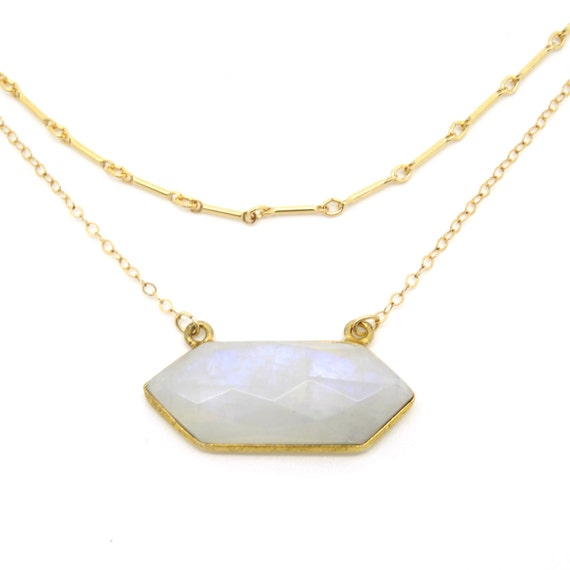 moonstone layer necklace gold moonstone necklace hexagon