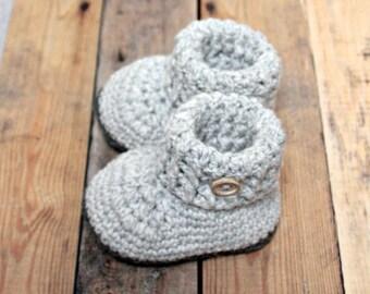 Pearl grey baby booties, woolen baby booties, crochet shoes, woolen baby shoes, woolen baby socks, baby shower gift