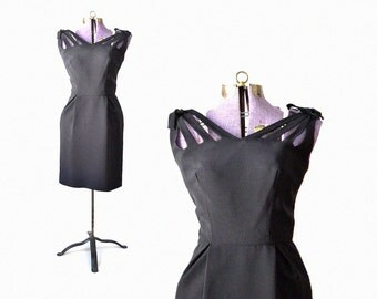1950s Dress, 50s Dress, Little Black Dress, Cut Out Dress, Estevez Style Dress,  Pencil Dress, Small Dress, XS Dress, Womens Clothing Dress