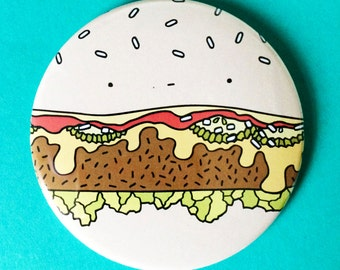 Cosmic Ginge 76 MM Cheese Burger Pocket Mirror